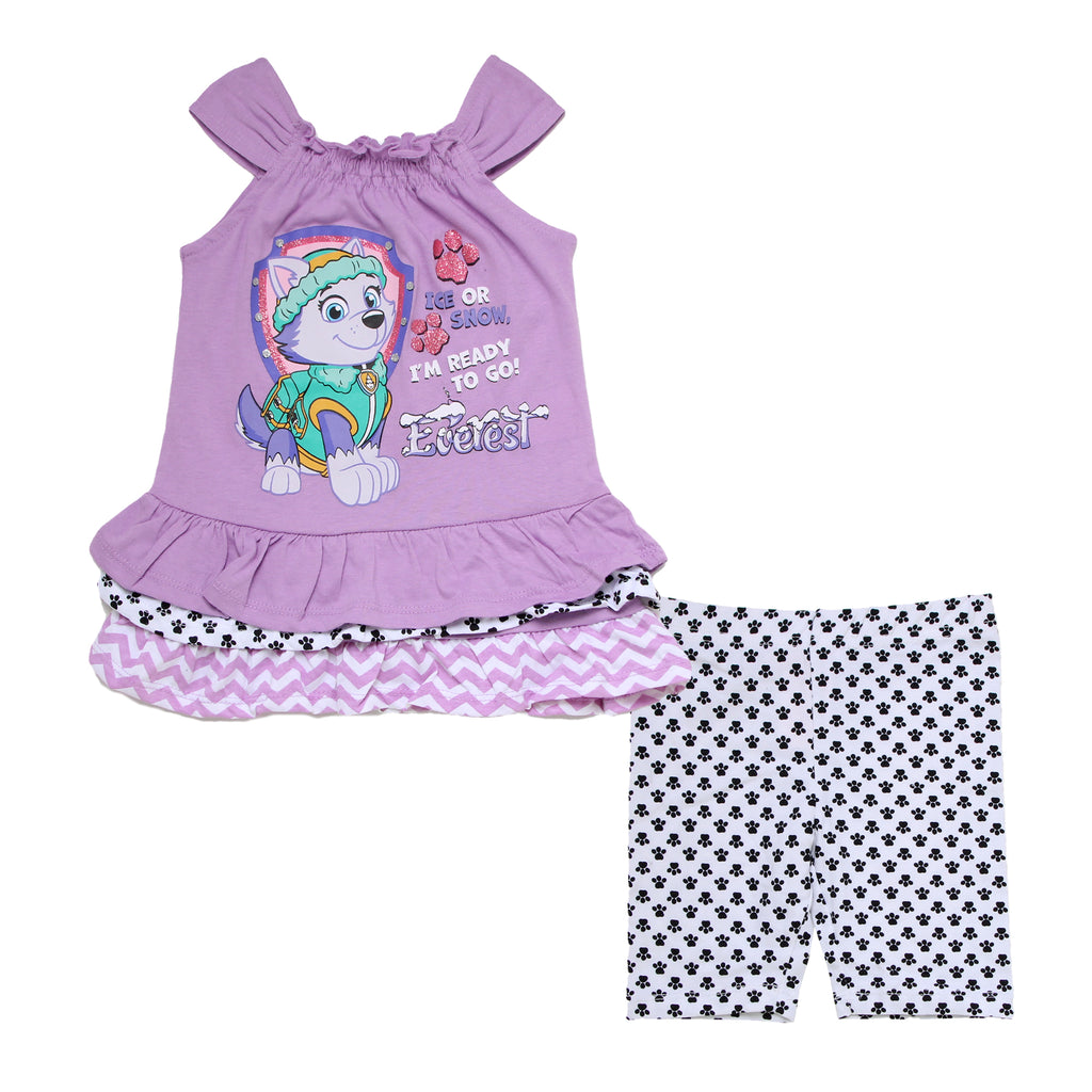 Toddler girls Paw Patrol 2 piece set with sleeveless ruffle purple Everest character tank top shirt and matching bike shorts