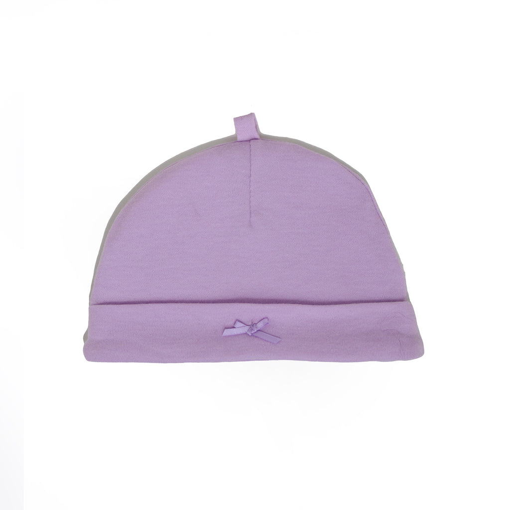 Baby girls purple beanie hat cap with ribbon bow on front