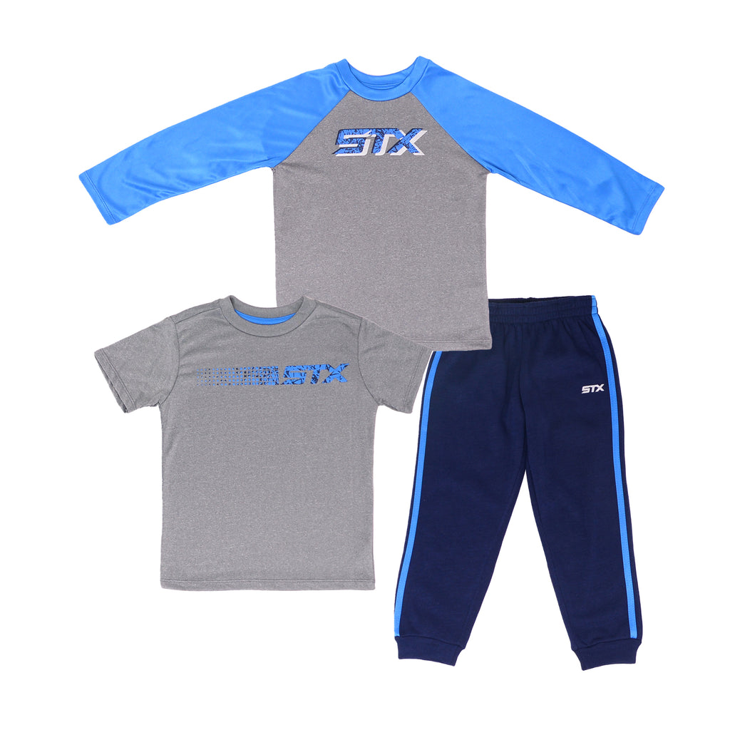 Boys 3 piece athletic set with STX logo long sleeve performance shirt short sleeve tee and jogger pants in navy blue and grey