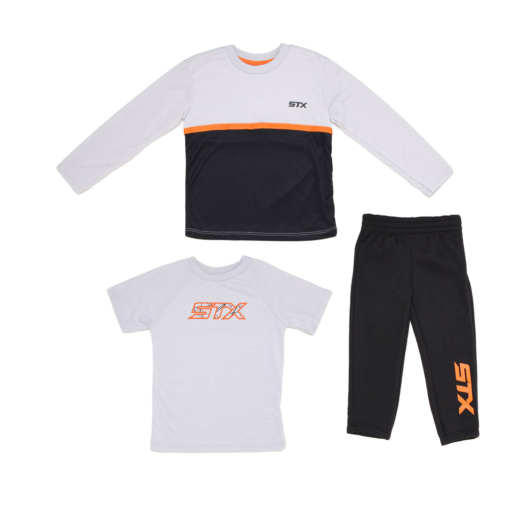 Boys three piece STX set with black and white longsleeve tee shirt shortsleeve tee shirt and matching black sweatpants
