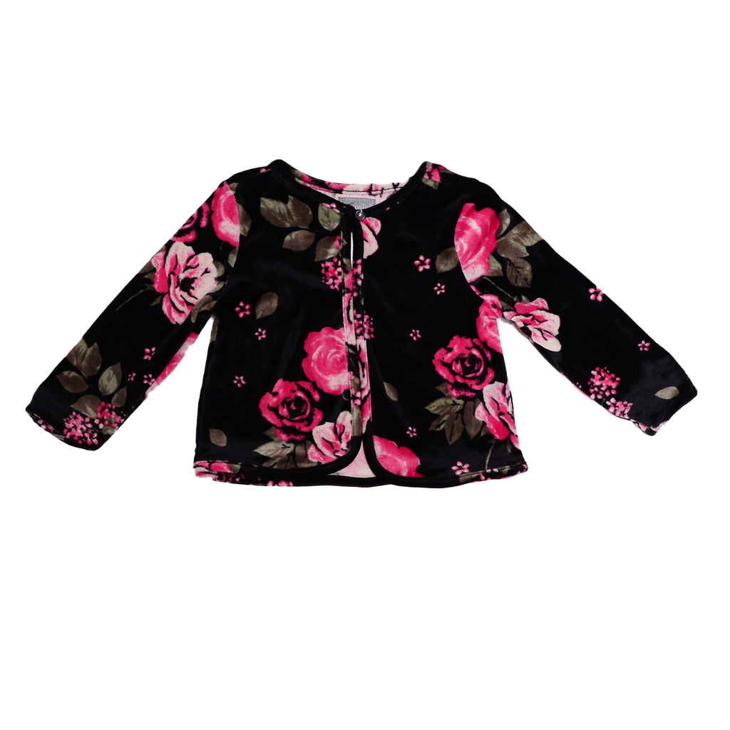 Miniville Baby Girl Cardigan Sweater Features Velvet Floral Flower Pattern