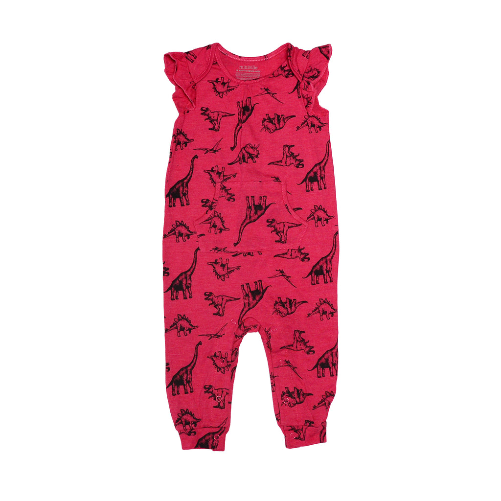 Miniville Short Sleeve Long Pant BodySuit Kangaroo Pocket On Front Of Onesie Full Snap Button Bottoms For Easy On Off Changing