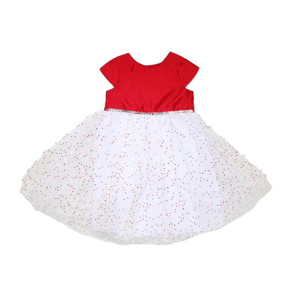 Little toddler girls formal fancy dress with cap sleeves and solid red bodice with puffy tulle skirt with glitter star design