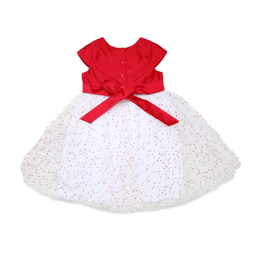 Back of little toddler girls formal fancy dress with cap sleeves and red bodice with tulle skirt with glitter star designBack of little toddler girls formal fancy sleeveless dress with red bodice with tulle skirt with glitter star design