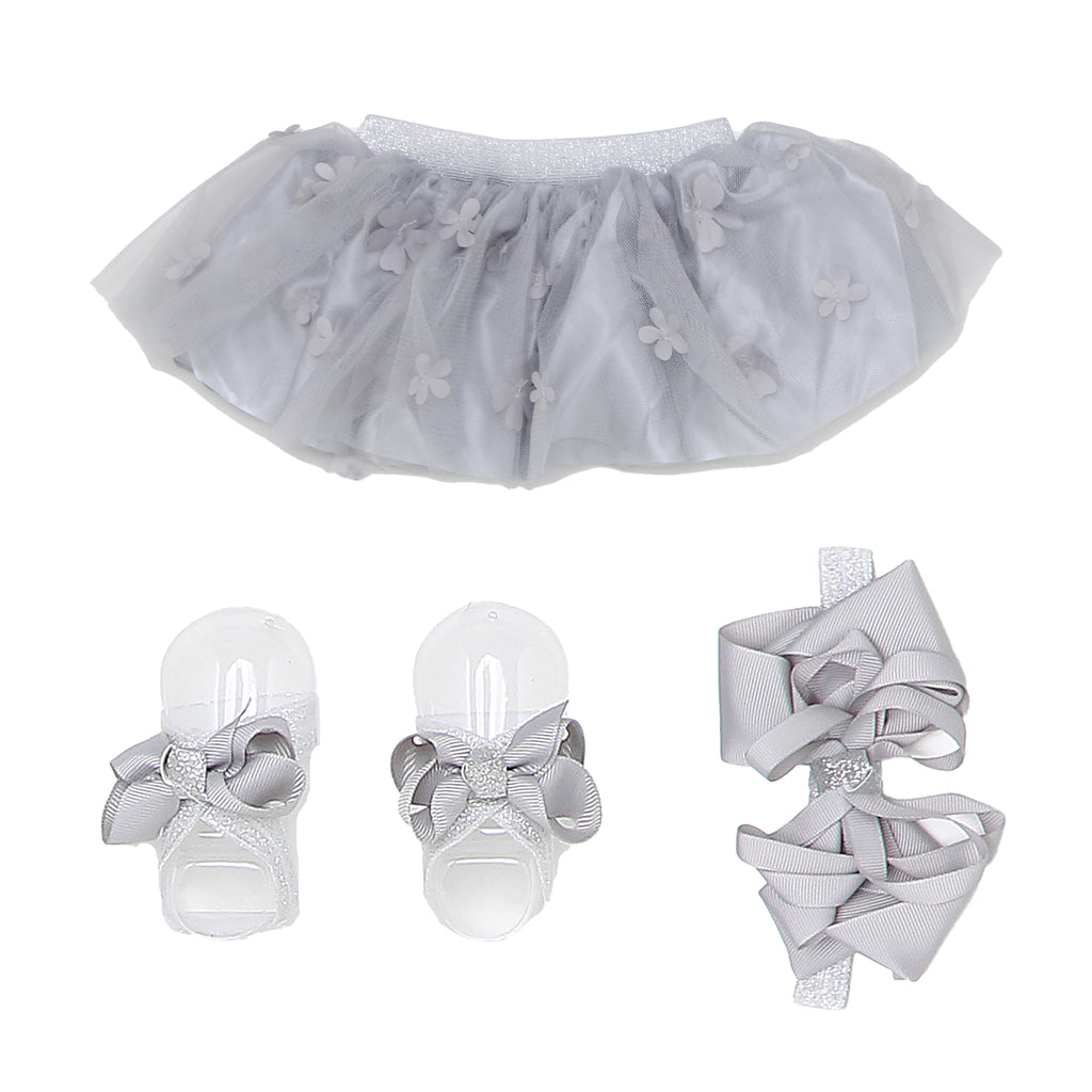 Zak & Zoey Baby Girl Tulle Chiffon Tutu with matching grey color Hair Bow and Shoe Bow Accessory Set