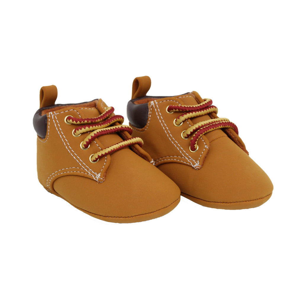 Goldbug Baby Boys Soft Sole Faux Leather Work Boot Shoes with Elastic Strap Pull Tab In Back and Faux Work Boot Design