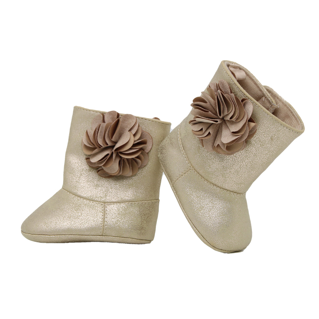 Baby Deer Baby Girls Soft Sole Gold Metallic 3D Flower Boot Shoe Velcro Flap Closure Gold Metallic Glitter and Shimmer Faux Leather
