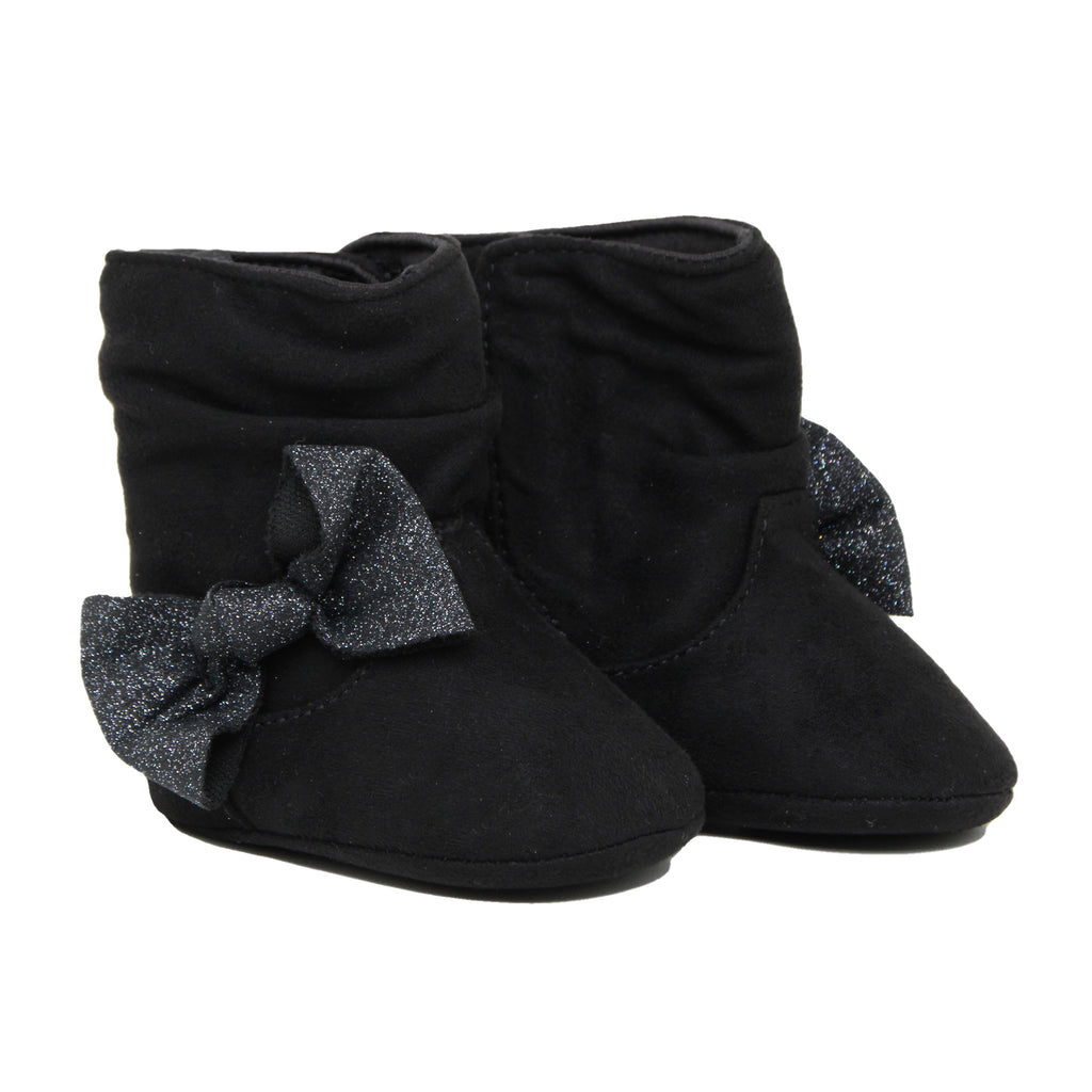 Baby Deer Baby Girls Soft Sole Black Faux Suede Boot With Bow Velcro Flap Closure Pull Tabs On Side And Back For Easy On Off Soft Black Faux Suede