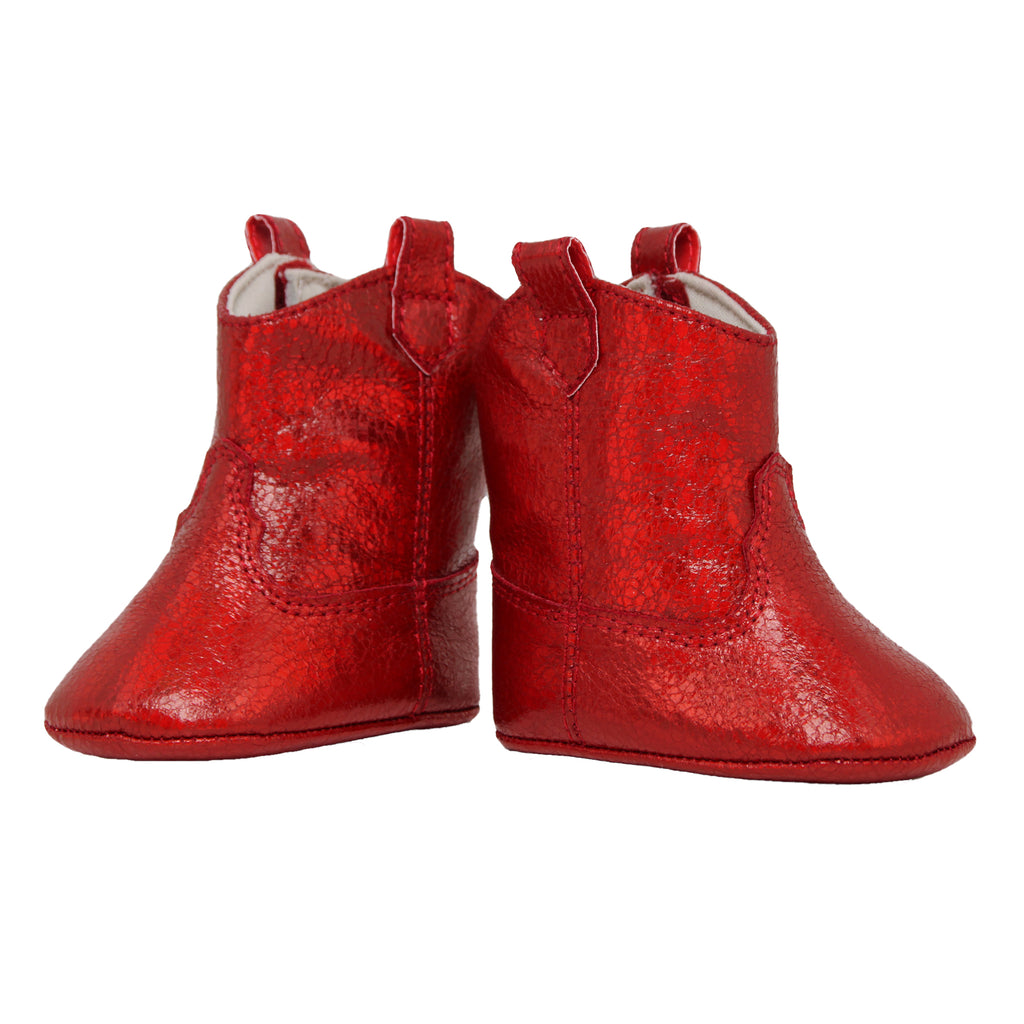 Baby Deer baby infant girls small red faux leather ugg boot in sparkle shimmer metallic red ankle boot