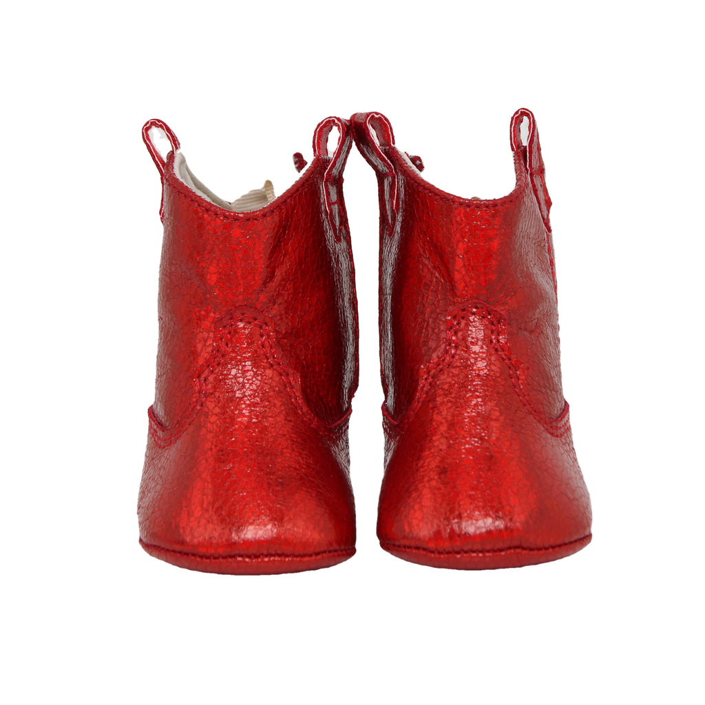 Front view of Baby Deer baby infant girls small red faux leather ugg boot in sparkle shimmer metallic red ankle boot