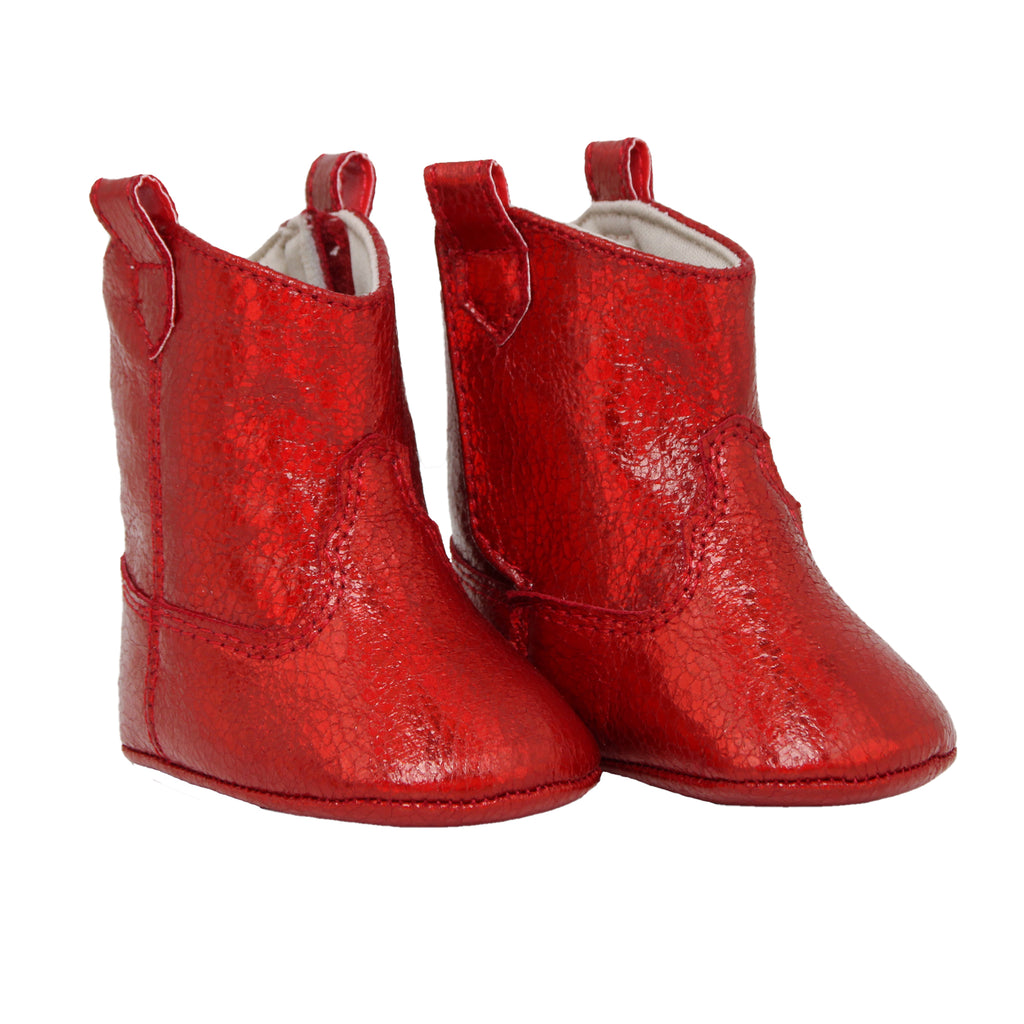 Side view of Baby Deer baby infant girls small red faux leather ugg boot in sparkle shimmer metallic red ankle boot