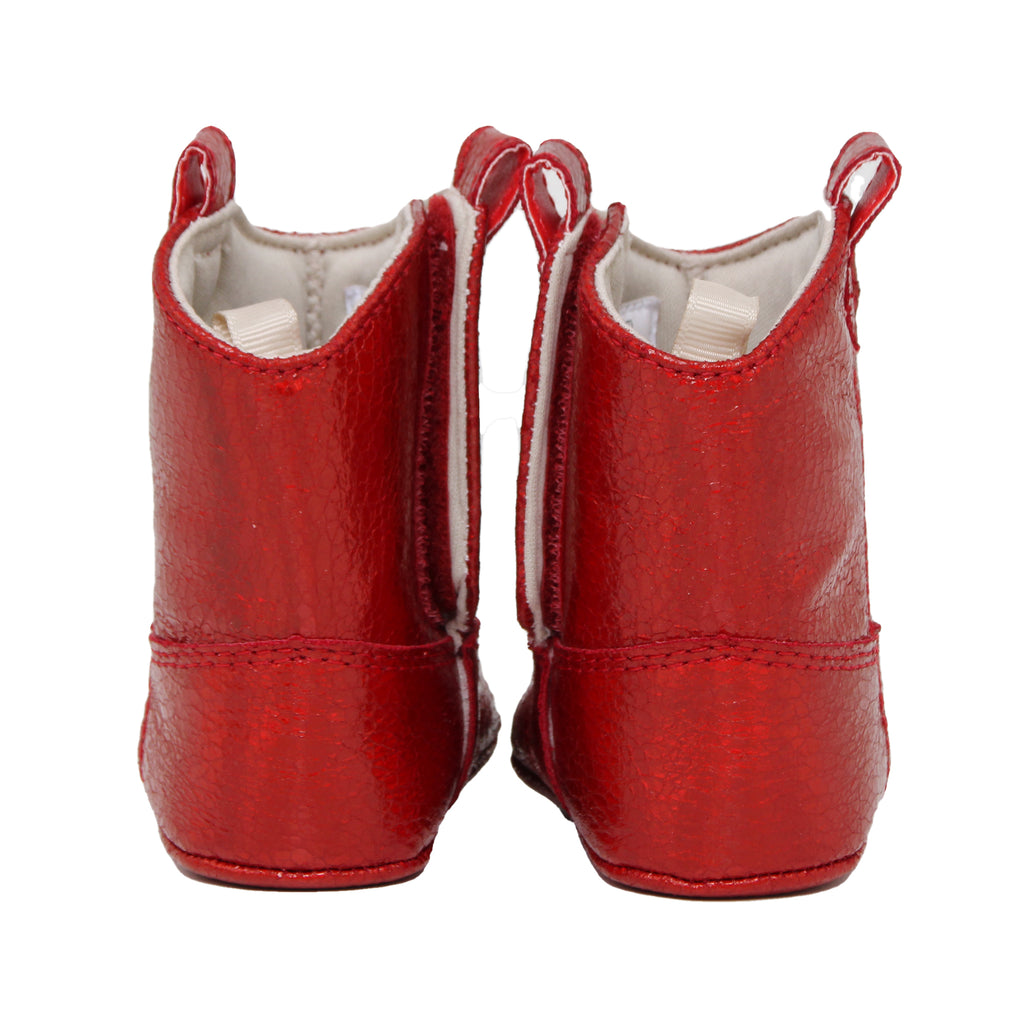 Back view of Baby Deer baby infant girls small red faux leather ugg boot in sparkle shimmer metallic red ankle boot