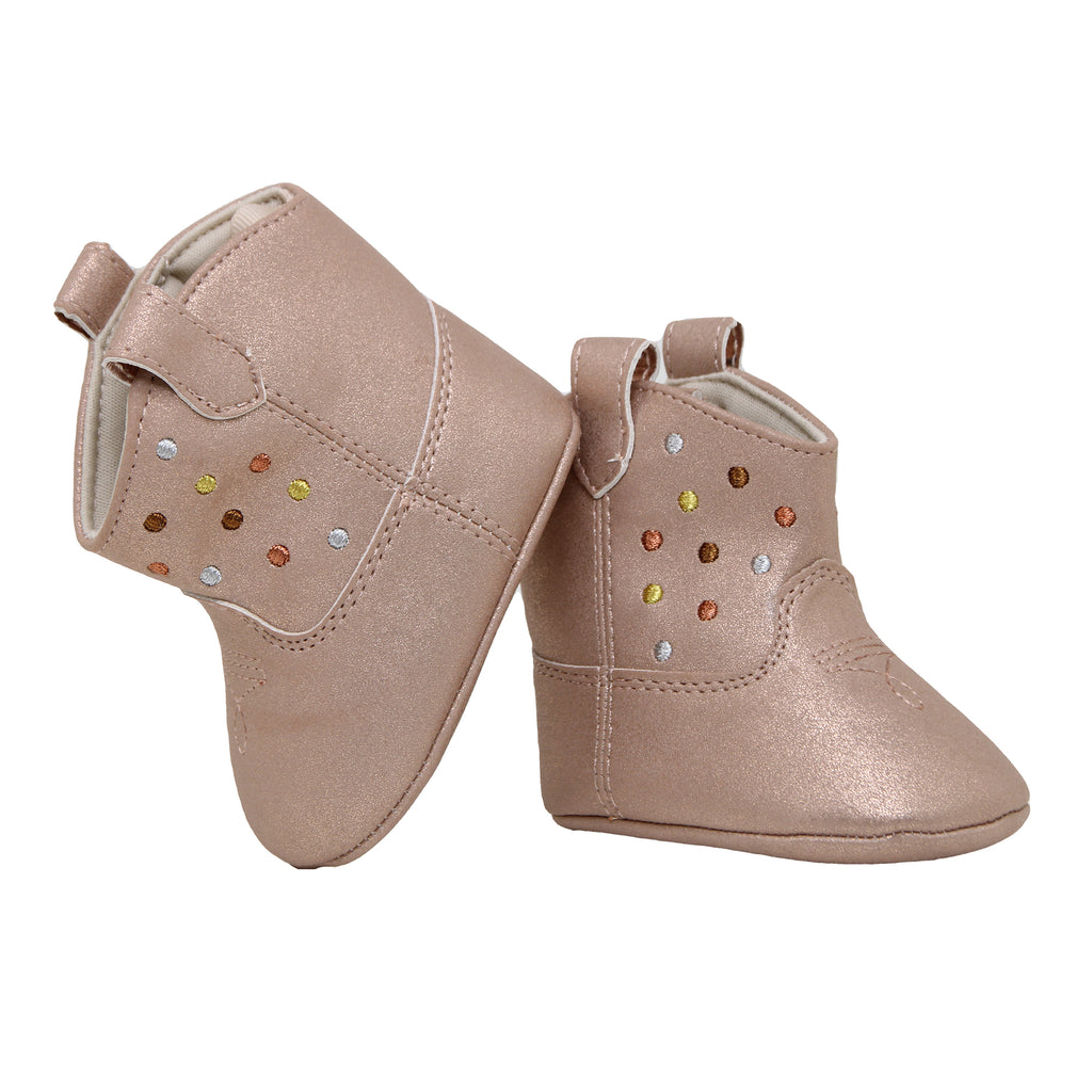 Baby Deer Baby Girls Soft Sole Metallic Shimmer Boot Shoe with Velcro Flap Closure and Western Embroidered Polka Dot Design