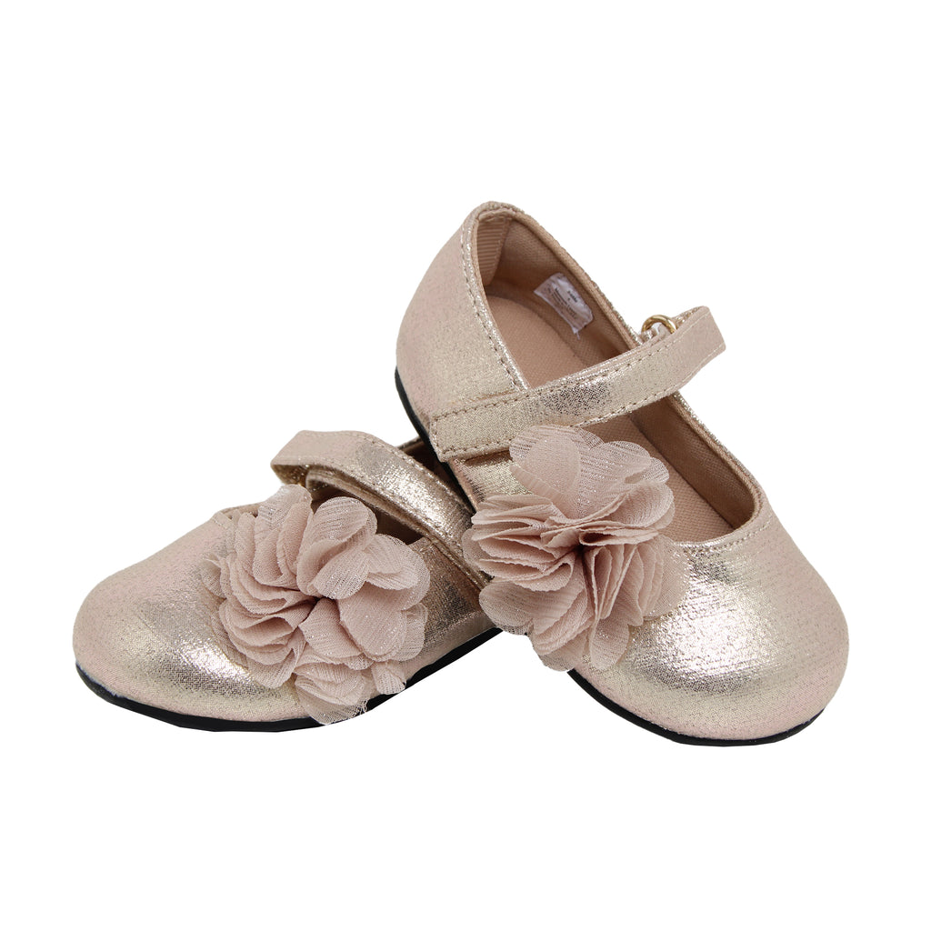 Goldbug Baby And Toddler Girls Metallic Gold Floral Ballet Flat Shoe with one Velcro Strap Glitter Gold Shimmer Design and 3D Flower Embellishment