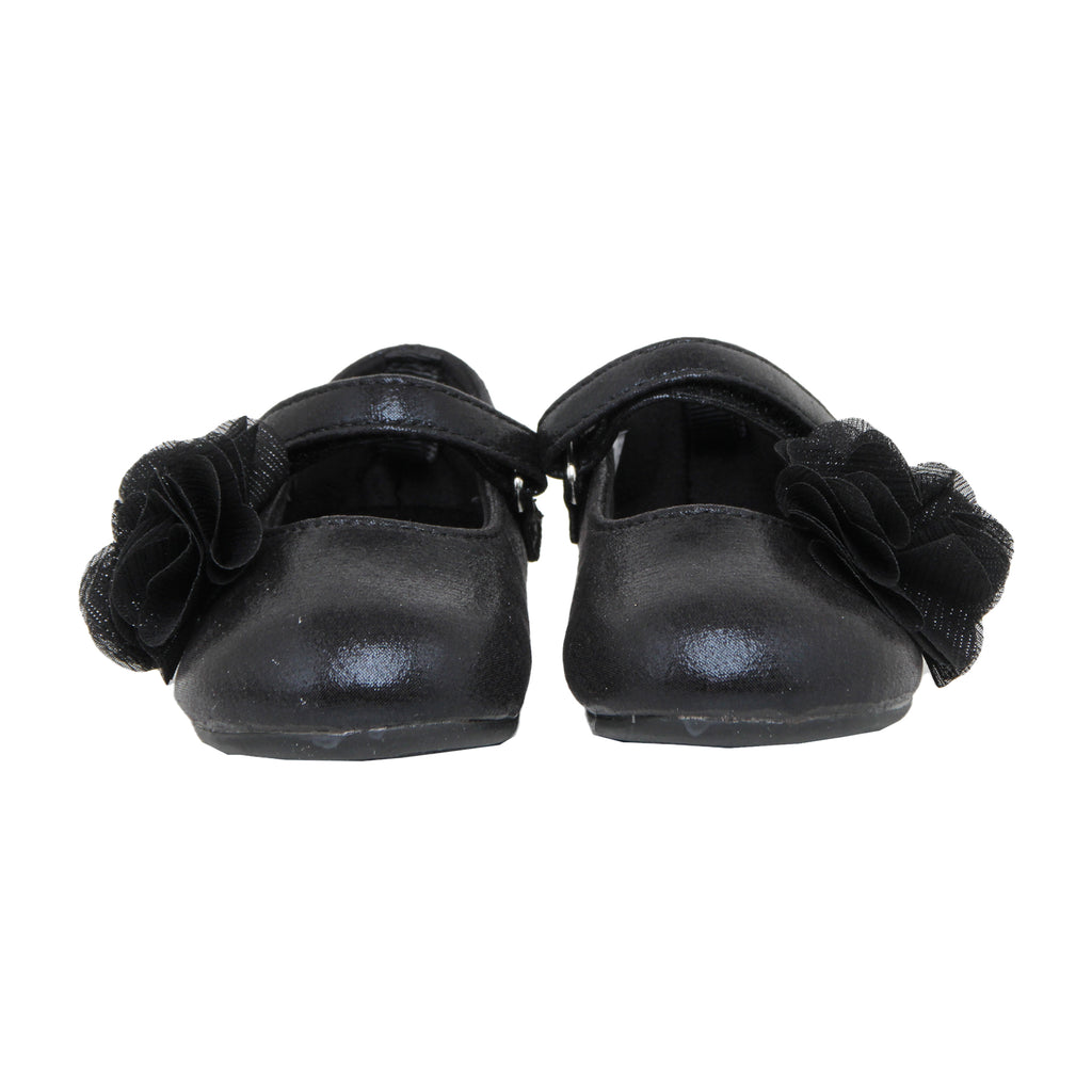 Baby Deer Baby Toddler Girls Shimmer Black Mary Jane Flat Shoe with Velcro Strap Across Top Of Foot Non Slip Rubber Sole Shimmery Shiny Black Fabric