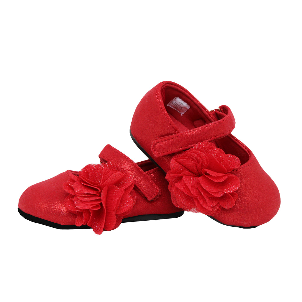 Baby Deer Baby Toddler Girls Shimmer Red Mary Jane Flat Shoe Velcro Strap Across Top Of Foot Non Slip Rubber Sole 3D Flower On Side Of Shoe