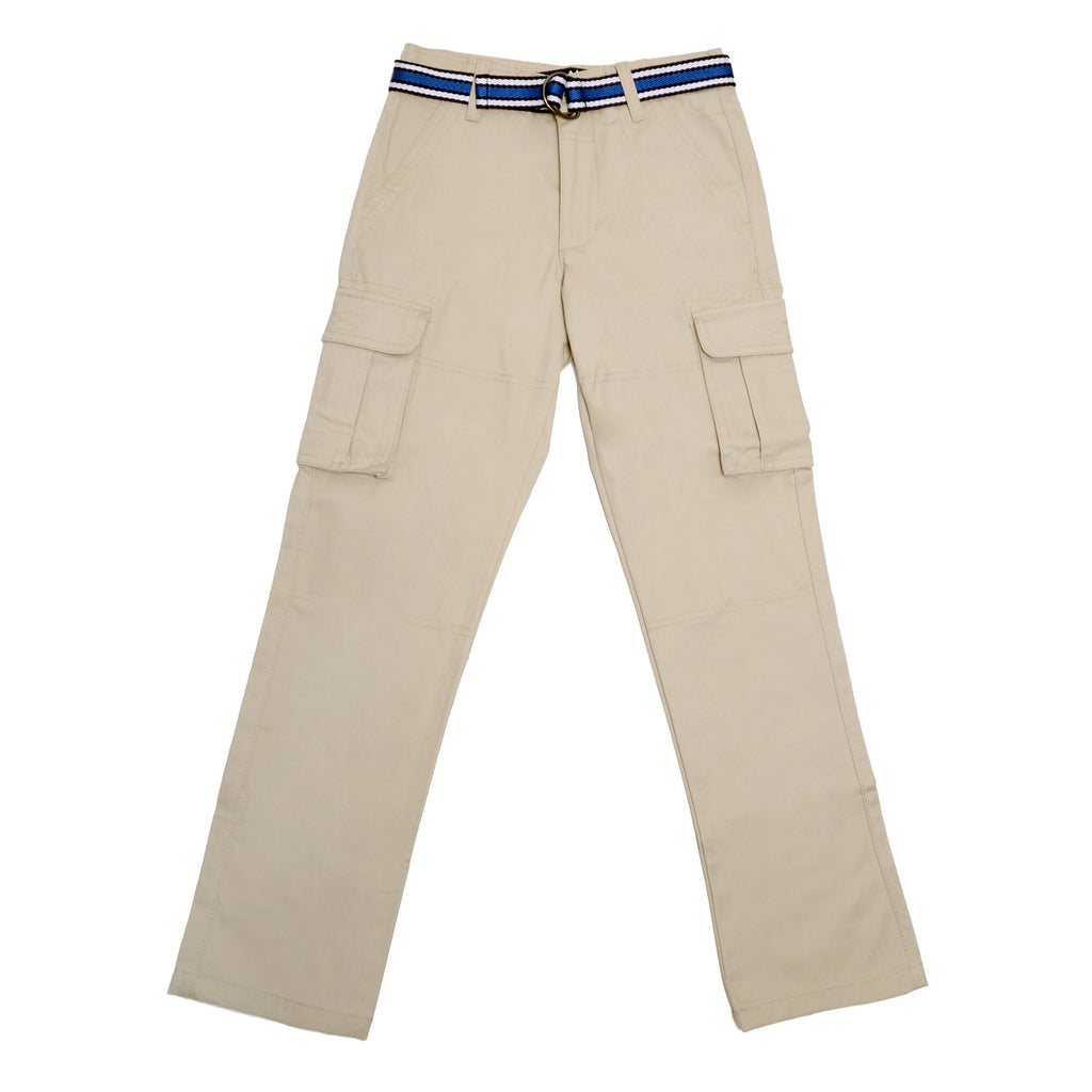 Front of boys khaki tan beige school uniform cargo pant bottoms with cargo side pockets and navy blue belt