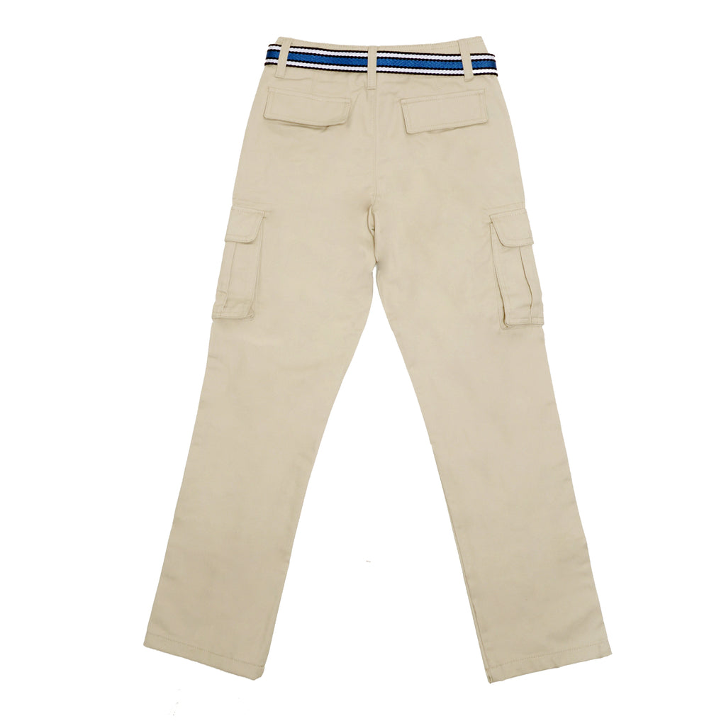 Back of boys khaki tan beige school uniform cargo pant bottoms with cargo side pockets and navy blue belt