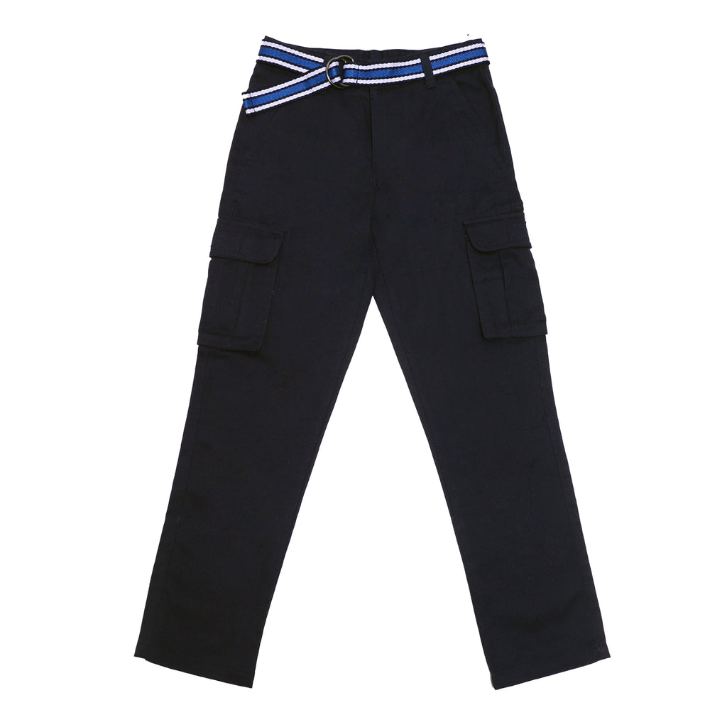 Front of boys dark navy blue school uniform cargo pant bottoms with cargo side pockets and navy blue belt