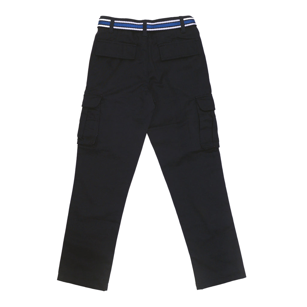 Back of boys dark navy blue school uniform cargo pant bottoms with cargo side pockets and navy blue belt
