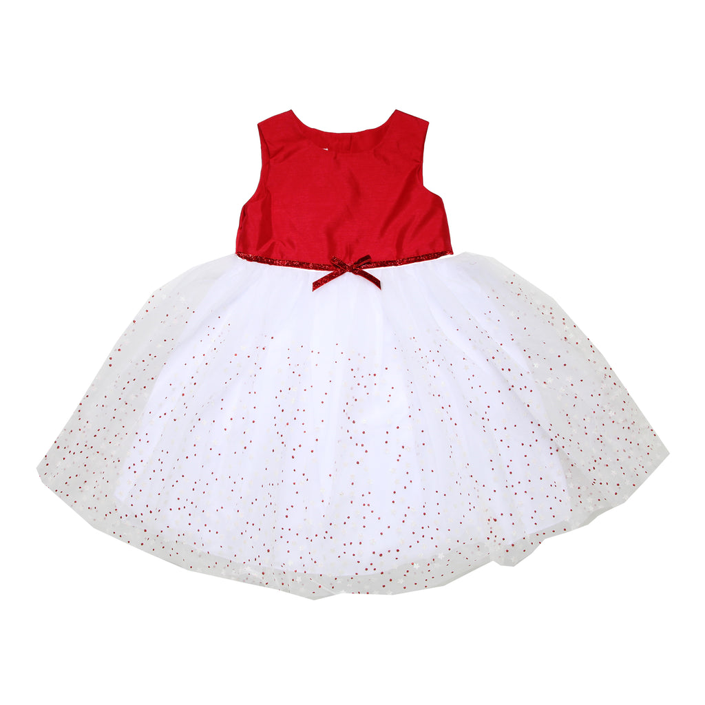 Little toddler girls formal fancy sleeveless dress with solid red bodice with puffy tulle skirt with glitter star design