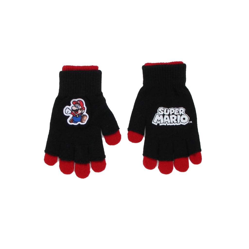 Nintendo Little Boys three In One Super Mario Glove Set that Includes two Pairs of Gloves One Full Pair And One Fingerless with Embroidered Patch