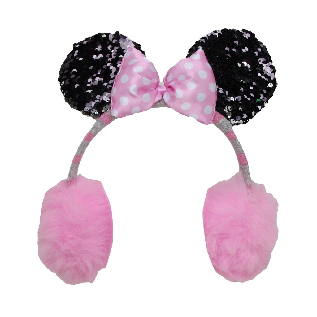 Disney Girls Minnie Mouse 3D Earmuff With Flip Sequin Ears with 3D Flip Sequin Mouse Ears that Go From Black To Silver and Minnies signature bow