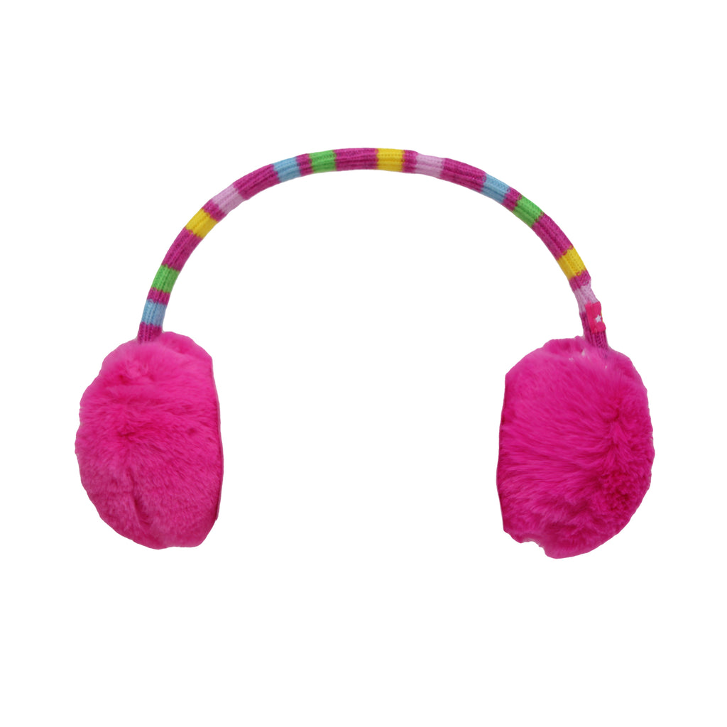 Girls Shopkins Cold Weather Earmuffs With Faux Fur And Knit Headband with Knit Headband Embroidered So Much Fun! Patch On Ear Muffs