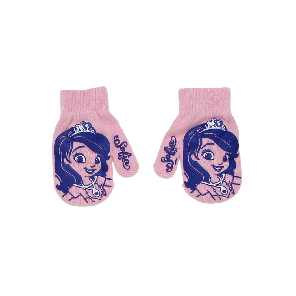 Disney Toddler Girls Princess Sofia Winter Gripper Mitten Gloves that Feature Gripper Design of Disney Princess Sofia Face Tiara and Name Verbiage