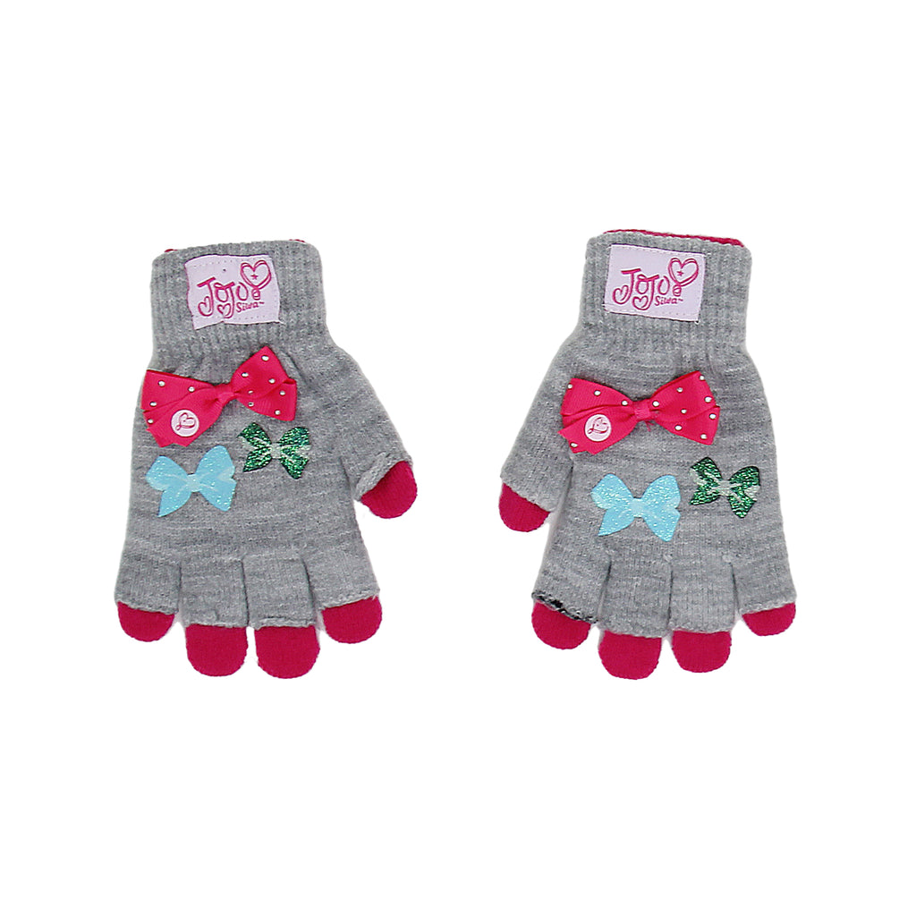 Jojo Siwa Little Girls 3D Bow two Pack Fingerless Glove Combo with Glitter Design and three bows two pack Include Fingerless Glove And Full Glove