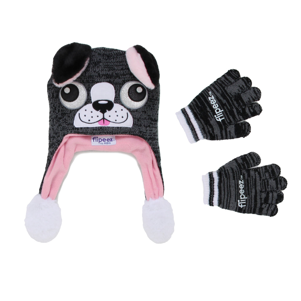 Flipeez Girls two Piece Cold Weather Action Squeeze Winter Hat Glove Set Features 3D dog face and Ears That Move When You Squeeze The Tassel