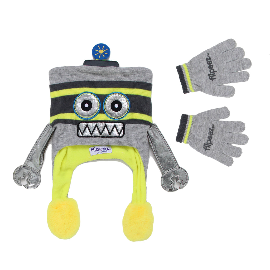Flipeez Boys 2 Piece Cold Weather Action Squeeze Winter Hat Glove Set Includes Cold Weather Knit Hat And Matching Gloves