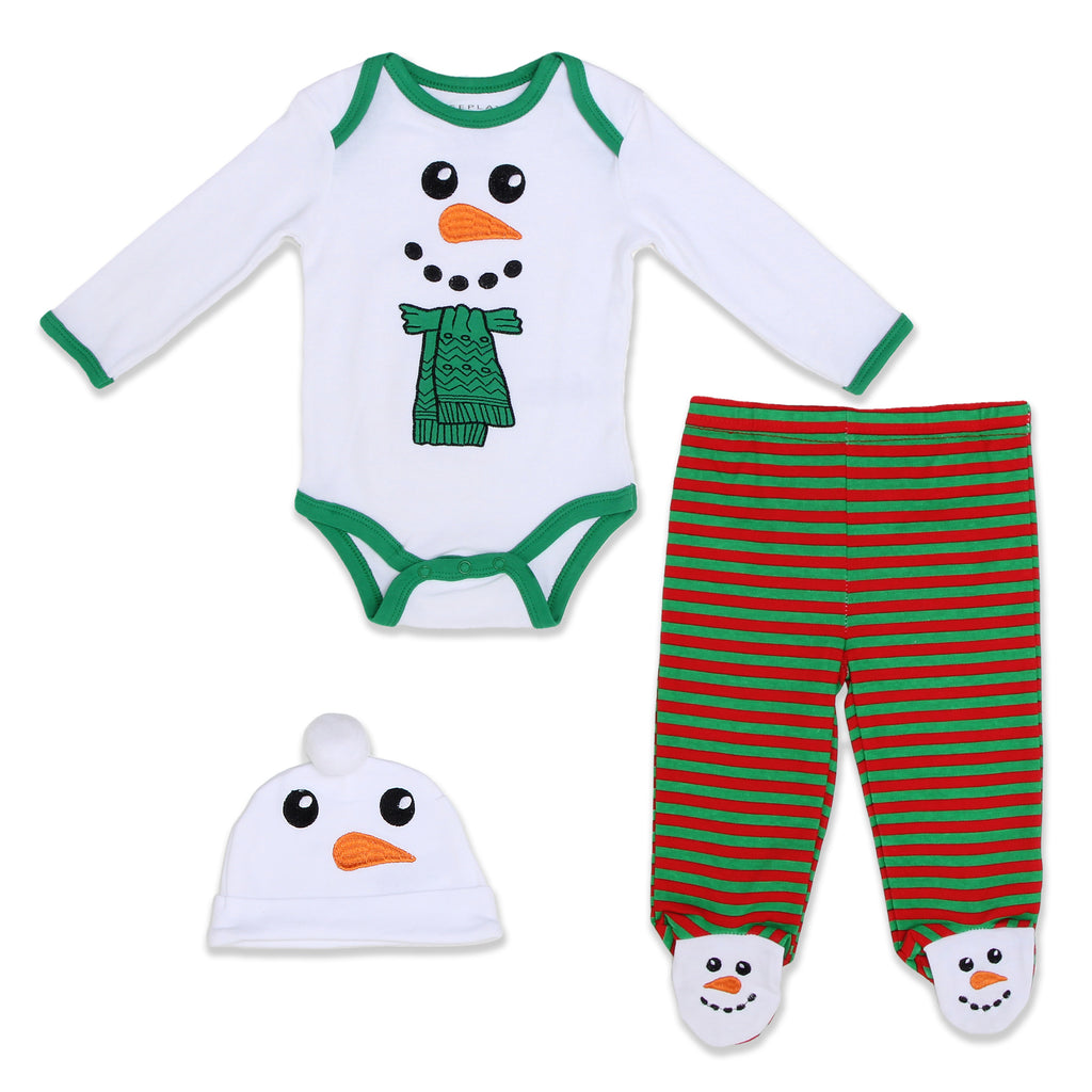 Weeplay Baby Boy Girl Holiday Snowman 3 Piece Footed Layette Set Includes Longsleeve Bodysuit Onesie Footed Pants And Hat