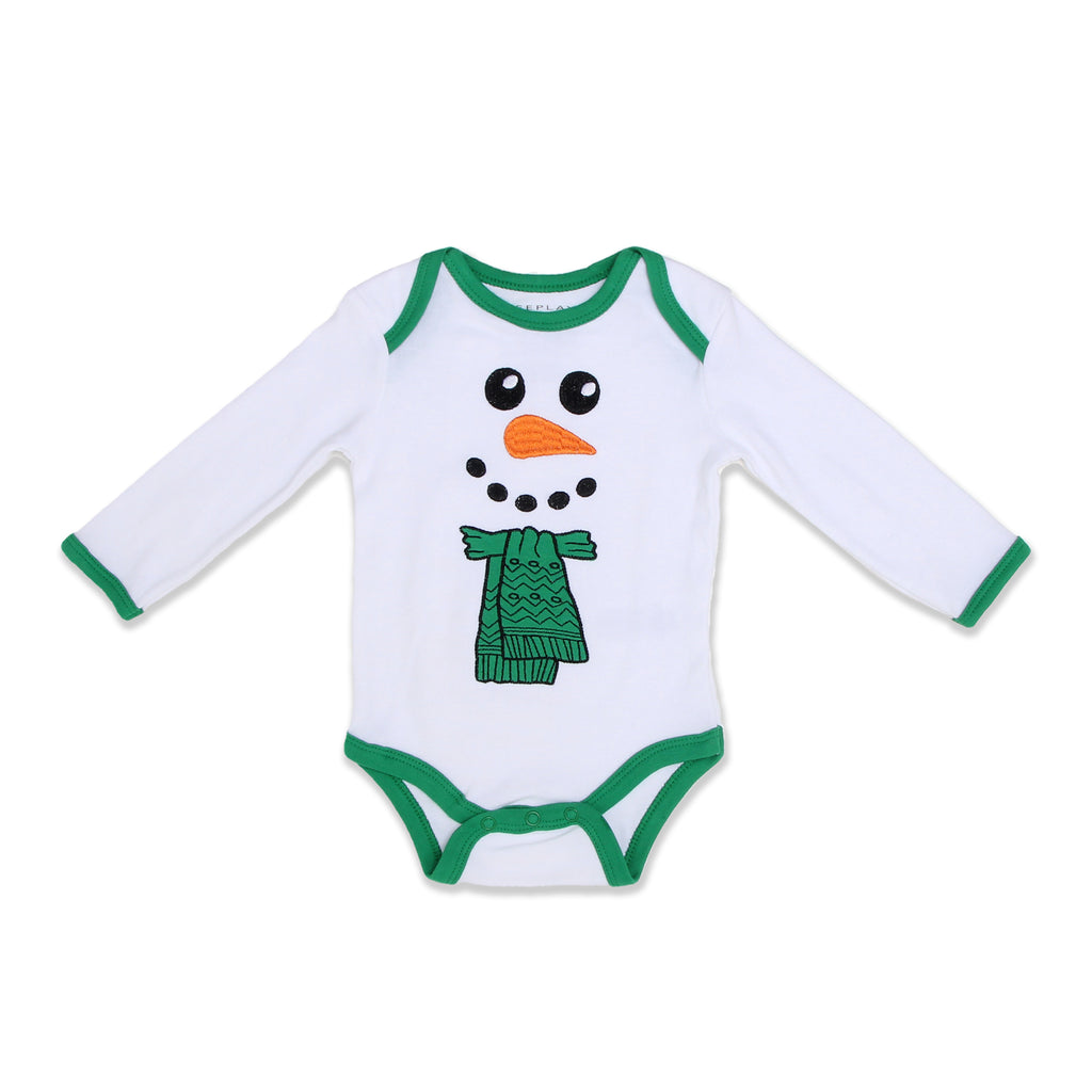 Weeplay Baby Boy Girl Body Suit Onesie Features Lap Shoulders And Contrast Hem Embroidered Snowman Face Design