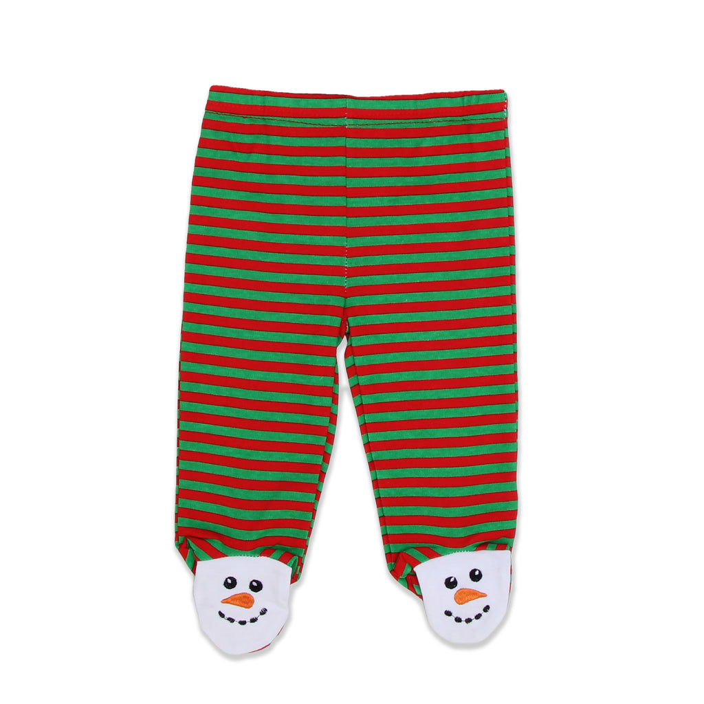 Weeplay Baby Boy Girl Pants Feature Embroidered Snowman Footies and Hat Features Embroidered Snowman Face