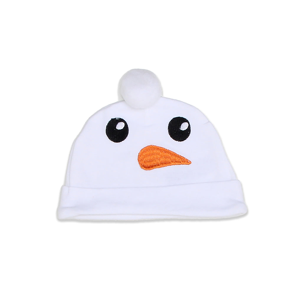 Weeplay Baby Boy Girl matching Hat Features Embroidered Snowman Face