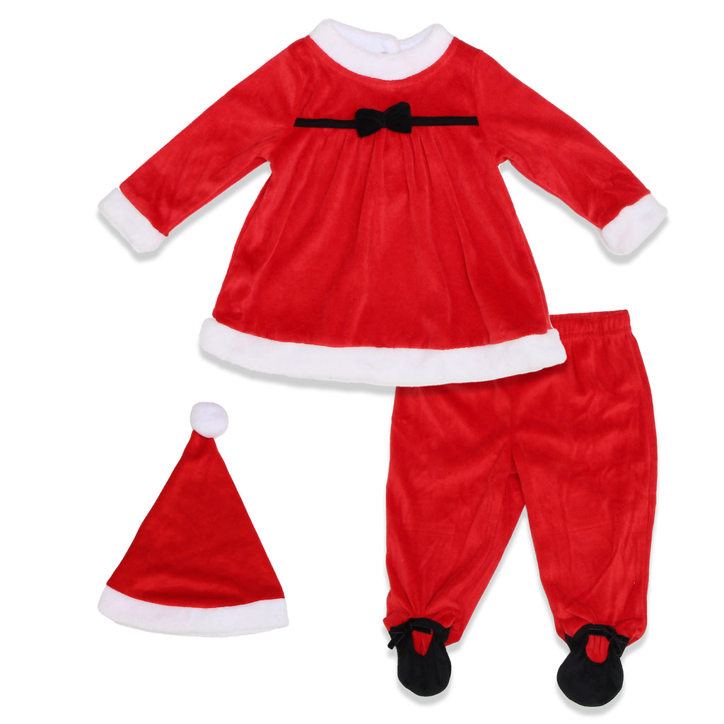 Weeplay Baby Girls Velvet 3 Piece Set Includes LongSleeve Dress Footed Pant And Pom Pom Stocking Cap Hat