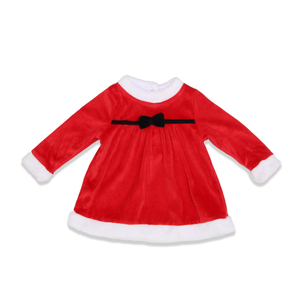 Weeplay Baby Girls Velvet Dress Features 3D Velvet Bow with White Contrast Trim On Hems and 2 Back Snap Buttons