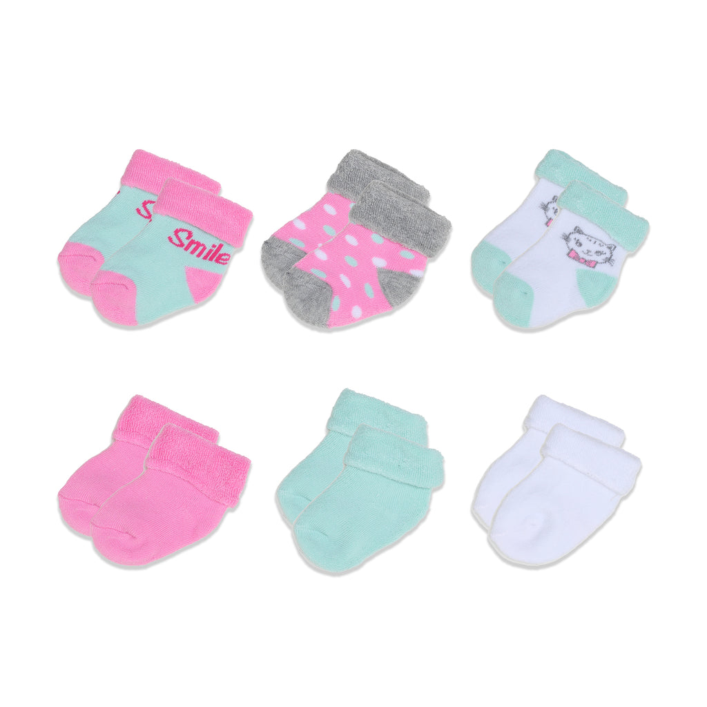 Mary Jane & Buster Baby Girl 6 Pack French Terry Cloth Fold Over Socks featuring feminine prints and colors