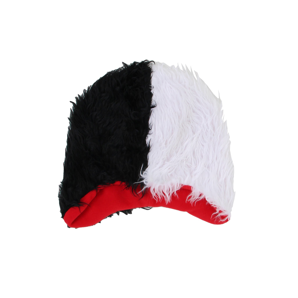 Disney Big Girls Cruella De Vil 101 Dalmatians Faux Fur Costume Hat in black and white with Red Lined Interior