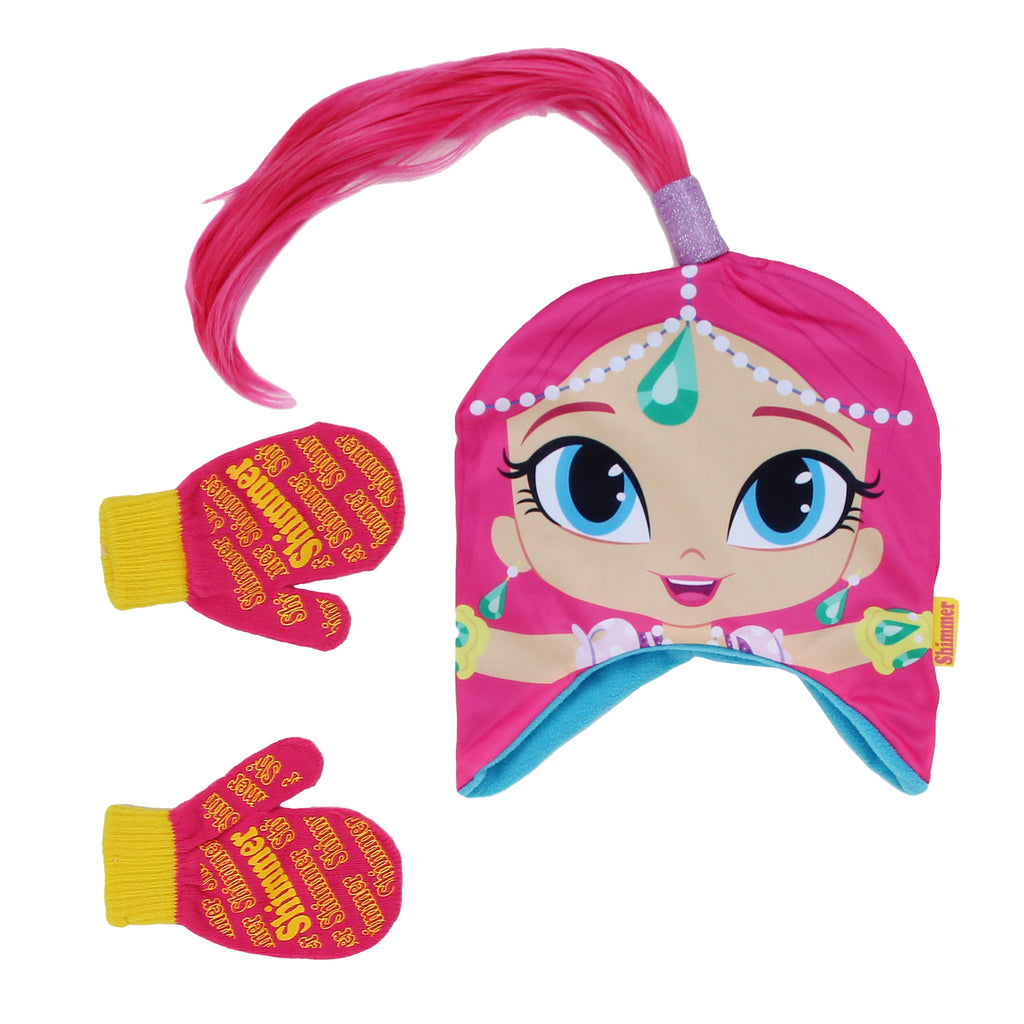 Nickelodeon Toddler Girls Shimmer And Shine Hat Mitten Winter Set Hat Features Sublimated Shimmer Graphic And Faux Hair Ponytail Mittens Feature Grip