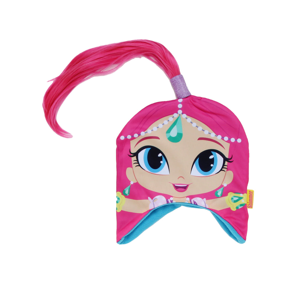 Nickelodeon Toddler Girls Shimmer And Shine hat Features Ear Flaps Sublimated Shimmer Graphic And Faux Hair Ponytail in pink