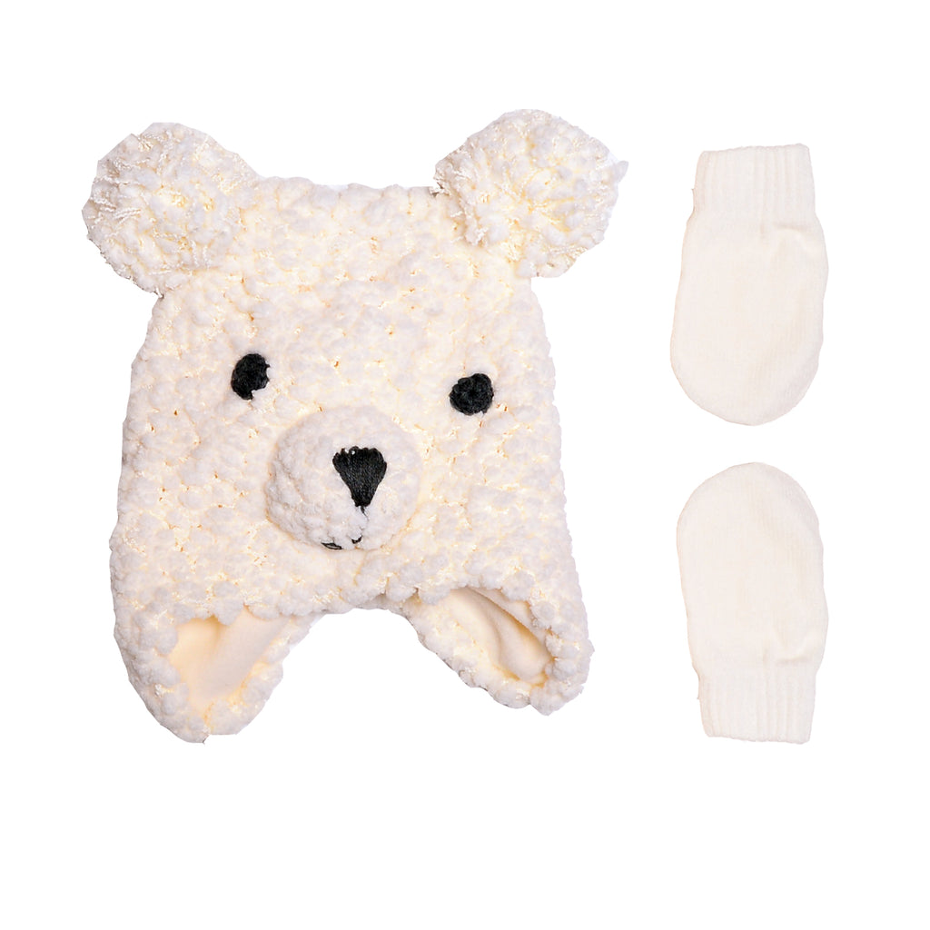 Baby off white cream colored sherpa plush fuzzy bear animal face hat with matching knit mittens cold weather set