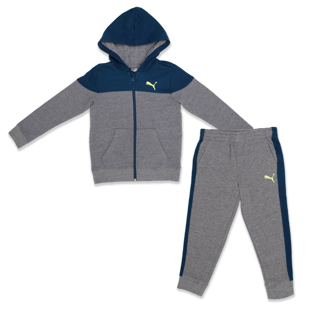 PUMA Little Boys 2 Piece Athletic Set Includes Zippered Hoodie Sweatshirt And matching Jogger Sweatpants