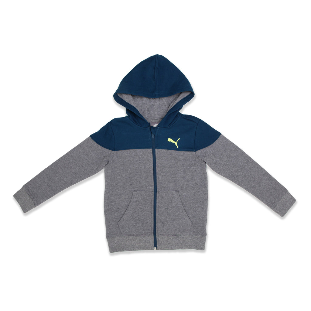 PUMA Little Boys Sweatshirt Features Two Tone Panel Construction and PUMA Big Cat Logo On Chest and 2 front pockets
