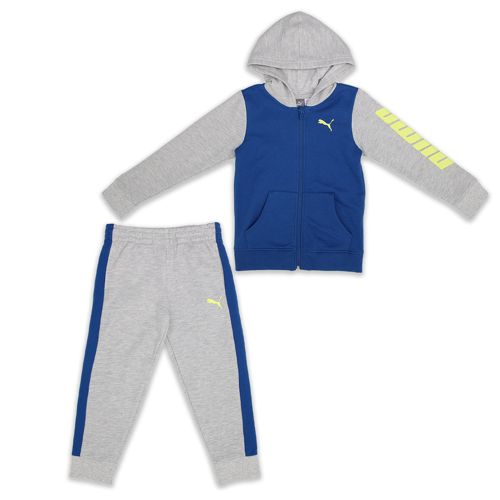 PUMA Little Boys 2 Piece Set Includes Zippered Hooded Sweat Shirt And Jogger Bottoms