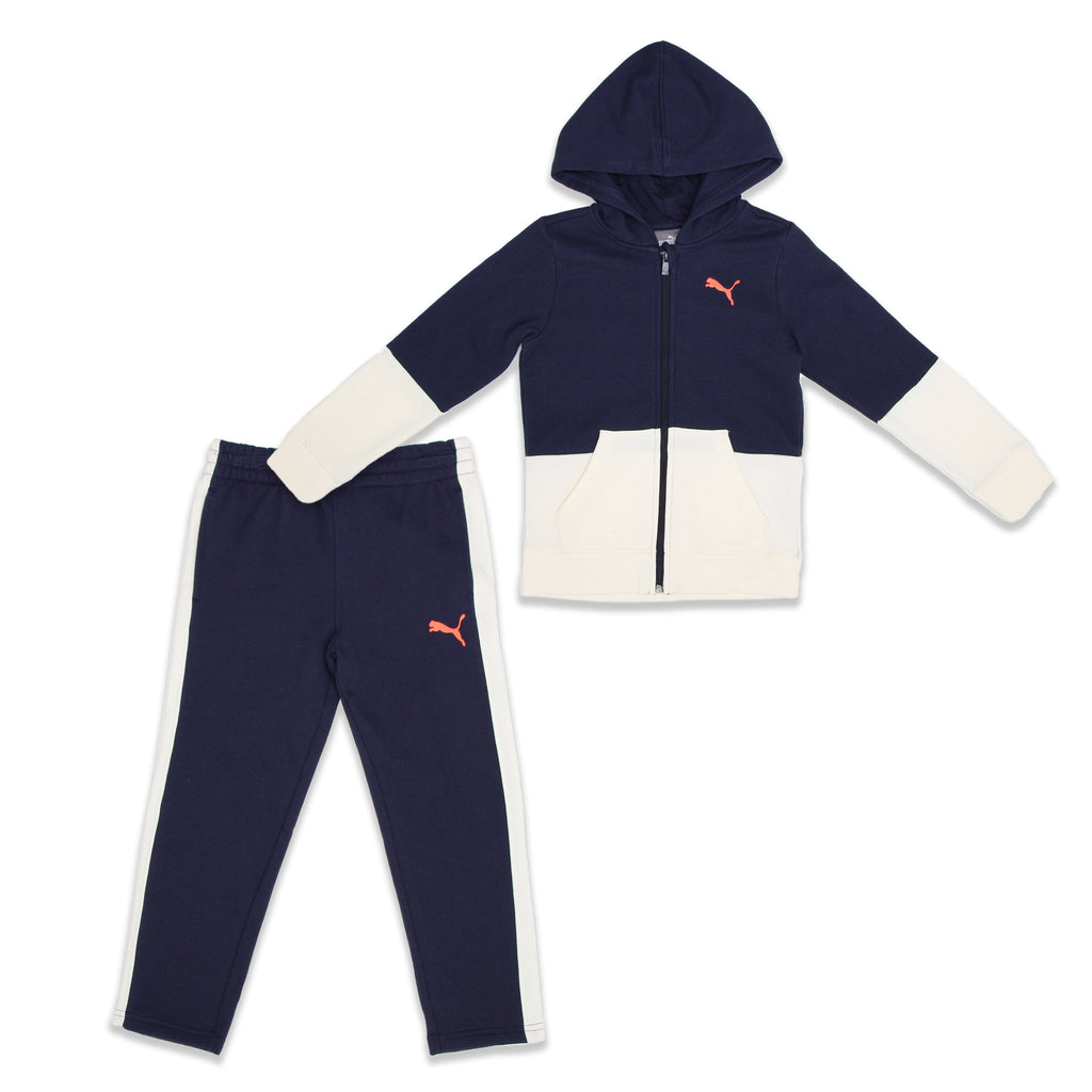 PUMA Little Boys 2 Piece Set Includes Zippered Hooded Sweat Shirt And Sweat Pants