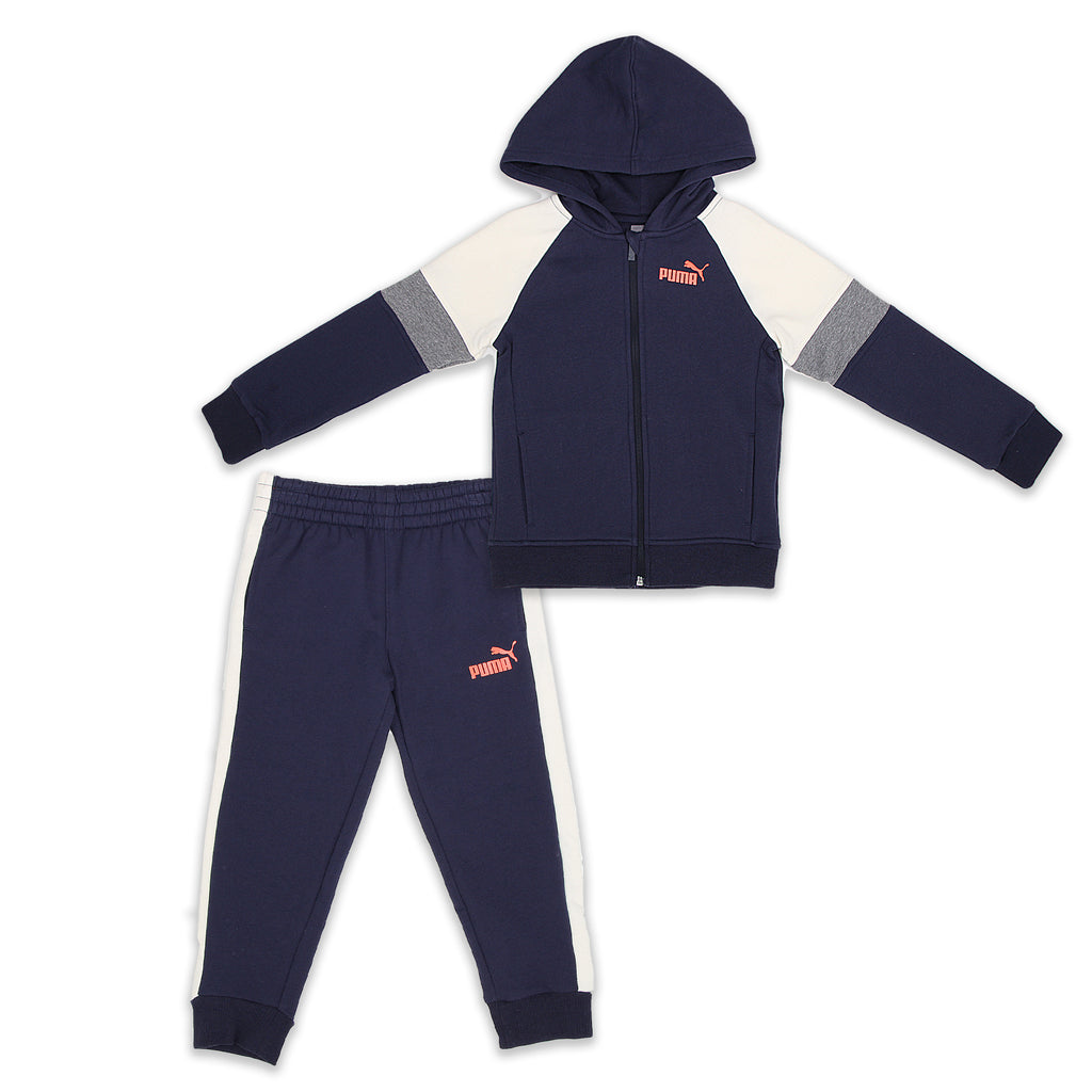 PUMA Little Boys 2 Piece Set Includes Longsleeve Zippered Hooded Sweatshirt And Jogger Sweatpants