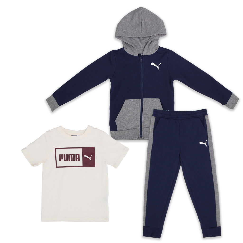 PUMA Little Boys 3 Piece Set Includes Longsleeve Zippered Hooded Sweatshirt Shortsleeve Graphic Tee Shirt Jogger Sweatpants