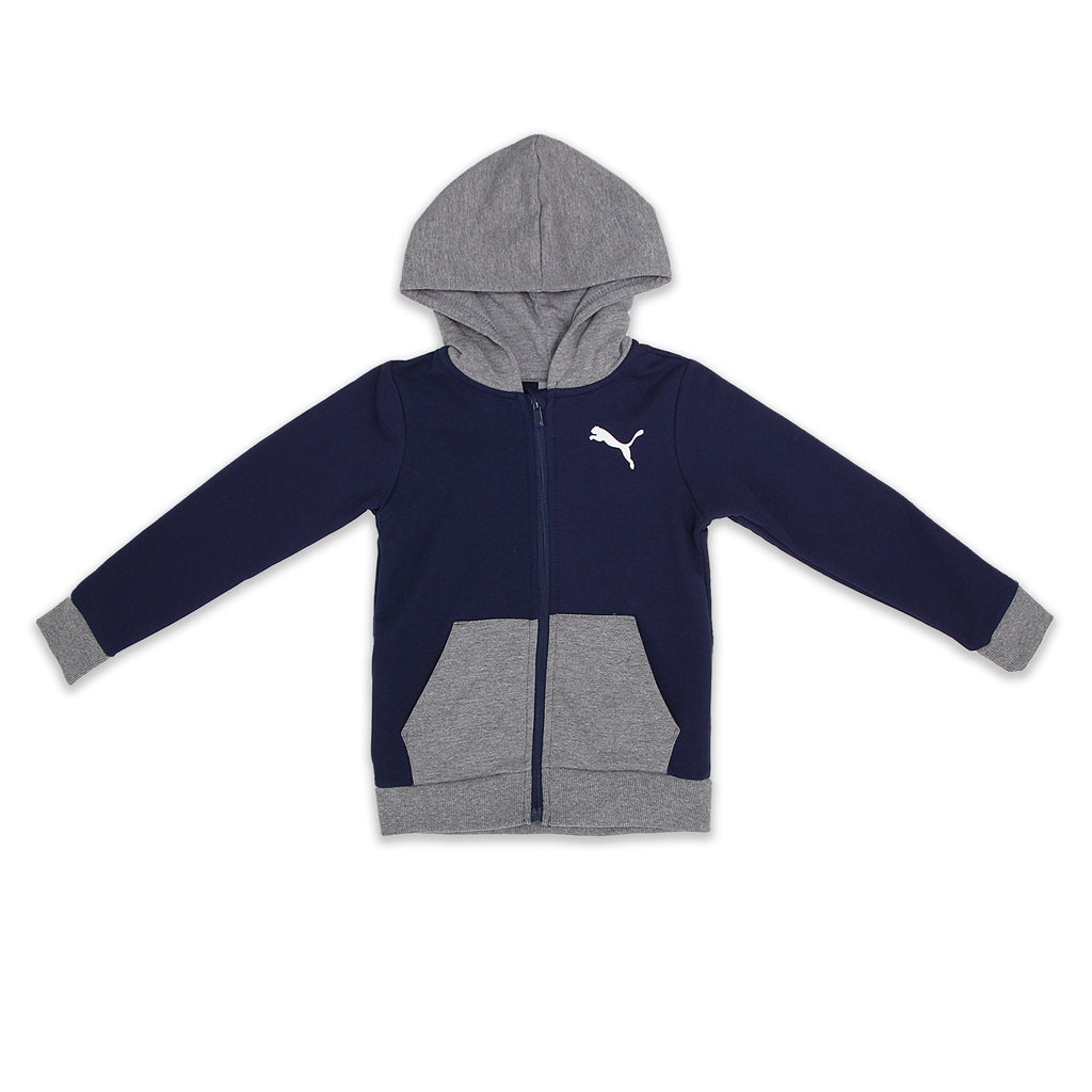 PUMA Little Boys Longsleeve Zippered Hooded Sweatshirt has 2 Side Pockets Color Contrast Hood Ribbed Sleeve Cuffs And Hem